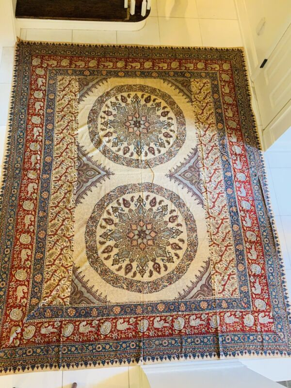 Antique Persian Islamic Textile Block Print Paisely Esfahan Cloth Wall Hanging