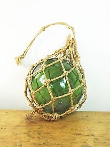 Vintage green glass fishing float nautical decor net buoy twine embossed 1