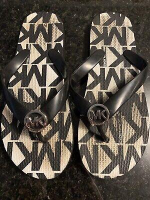 Girls Michael Kors Flip Flops Black Size 4-5