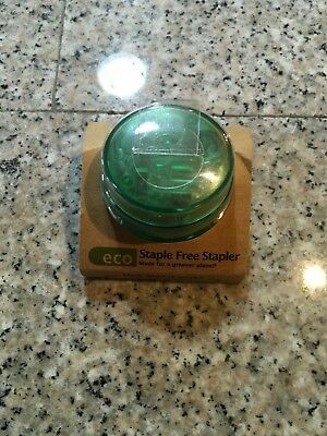 Made By Humans 455 Eco Staple-free Round Stapler Translucent Clear Green New