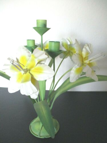 Vintage Tole Candle Holder Yellow Daffodils Spring Flowers