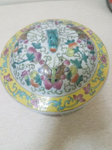 Tongzhi Qing Chinese porcelain bowl/pot with cover BUTTERFLY MOTH FAMILLE ROSE