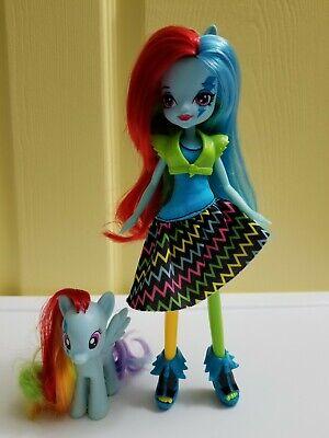 My Little Pony G4 Rainbow Dash Pony Figure and Equestria Girls Doll Rocks