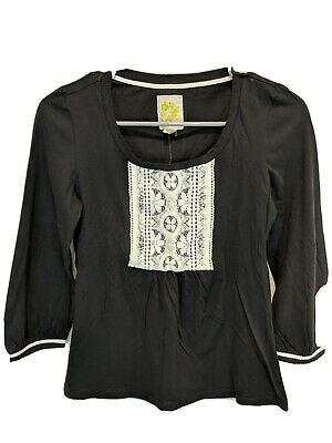 C Keer Anthropologie NWT Front Lace Black Top Size XS