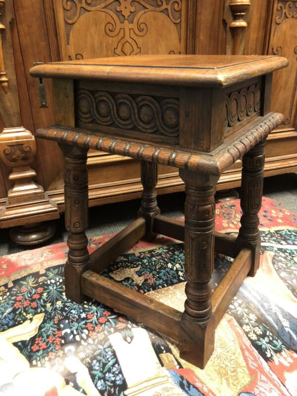 Antique Carved Oak Joint Stool or Occasional Table Lamp Stand 1800's Very Solid