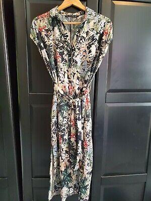 Zara Basic Black Floral Tie Waist Midi Dress - Size L