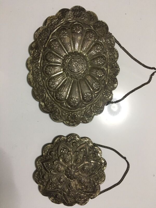 Vintage or Antique 900 Silver Repousse Turkish Wedding Mirror Wall Hangings
