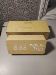 Modern Aesthetic Bamboo Wood Digital LED Desk Alarm Clock Home Office Decor