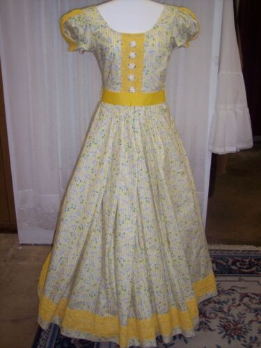 Civil War/Victorian Day Gown of Sunny Yellow Stripes on White, Springs of Green