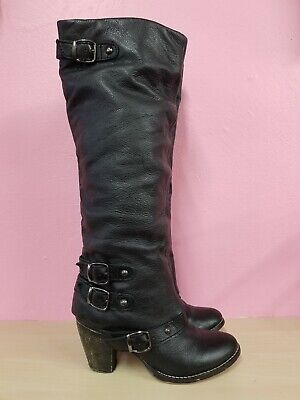 MIA BLACK BIKER BOOTS LEATHER BUCKLES SZ 6 WESTERN KNEE HIGH FESTIVAL GOTH PUNK  Gothic Leather Boots