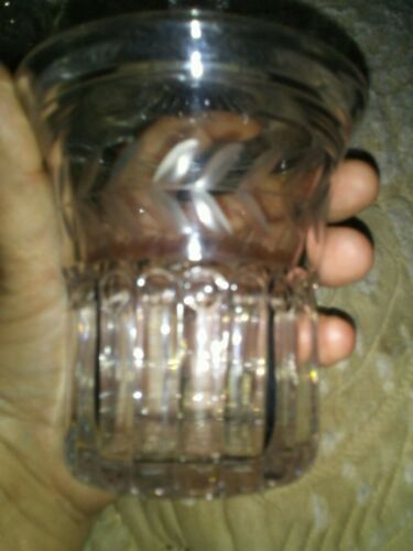 Lot Of Two Glass Containers One With Cover Beautiful Designs - $7.79