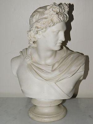 "ANTIQUE VICTORIAN PARIAN WARE ""APOLLO"" BUST ART UNIOIN OF LONDON 1855"