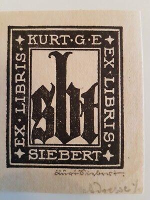 Exlibris bookplate from Kurt G.E. Siebert