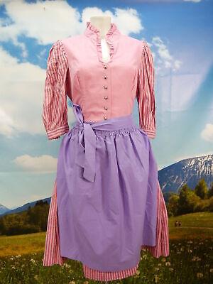 Chiemseer Dirndl &Tracht Baumwolle rosafarben fesches Dirndl mit Schürze Gr.46 - V-ausschnitt Schürze