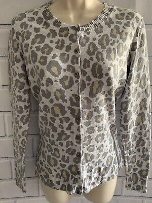 Gap Women's Small Gray Leopard Animal Print Button Cardigan Sweater Long Sleeve Gap Print Cardigan