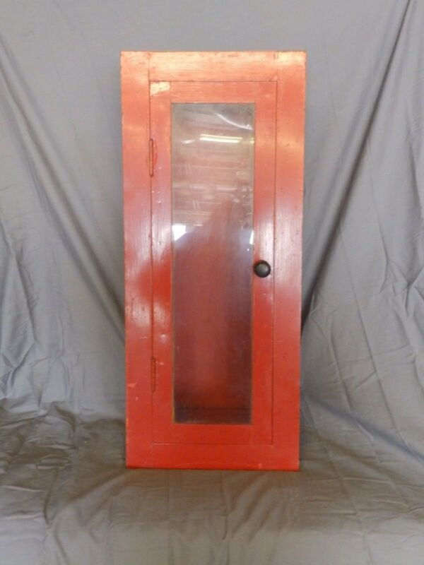 Antique Red Metal Recessed Medicine Cabinet Chest Firehouse Old Vtg 271-18P