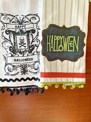 New Kitchen pair Dish tea Towel Halloween Vintage Style Appliqued pom poms skull