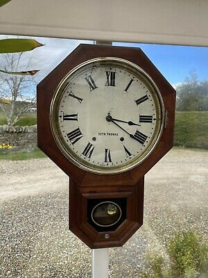 "Seth Thomas Antique Wall Clock, Drop Dial, American, Excellent. c1800's 12"" Face"