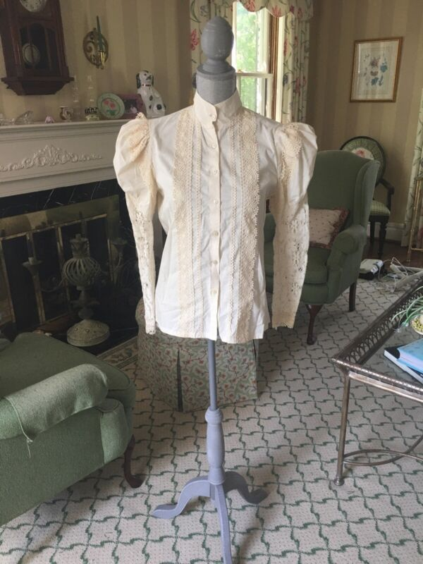 NWT Recollections Victorian Steampunk Edwardian Ivory Lace Theater Shirt SZ S
