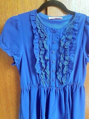 UK 12 Cute Blue Summer Dress, Frills, Lined, Tie Waist. Button Up. Short Dress. for sale  Shipping to Nigeria