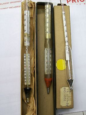 Lot Of 3 Vintage Baume Specific Gravity Scale Hydrometer