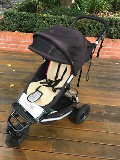 Mountain Buggy Swift Pram, with sunshield and winter sleeping bag