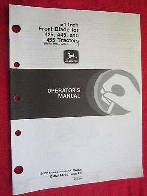 John Deere 425 445 455 Lawn Garden Tractor 54 Front Blade Operators Manual