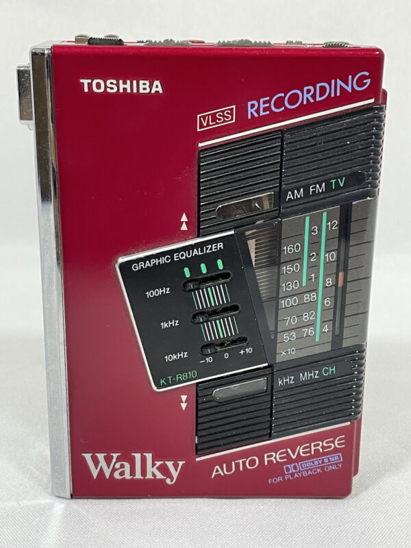 Toshiba KT-R810 Walky Recording Walkman Red Personal Tape Player - Working Japan