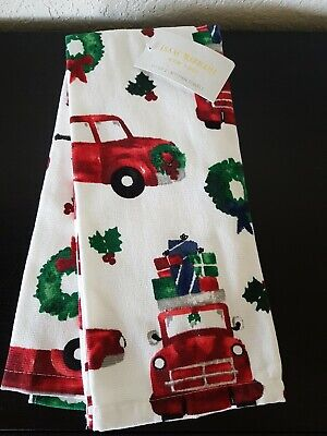 ISAAC MIZRAHI New York SET OF 2 Christmas KITCHEN TOWELS red pick up wreats NEW