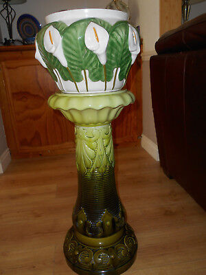 Antique Bretby Art Nouveau Jardiniere Stand with Alcobaca Portugese Pot
