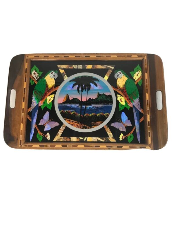 Butterfly Wing Reverse Painting Serving Tray With Wood Inlay- Brasil Rio