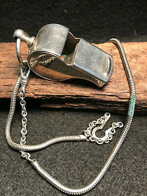 Personalized Coaches Whistle (Vtg Gemsco Regulation Whistle Sports Coach Personal with Chain)
