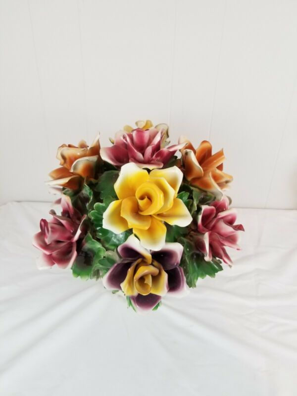 """Capodimonte Floral Flowers Centerpiece Roses Made Italy Porcelain 13"""" Tall"""