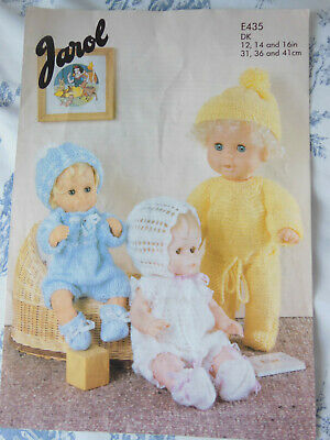 "KNITTING PATTERN FOR DOLLS CLOTHES - COPY OF VINTAGE PATTERN 12"" 14"" 16"""