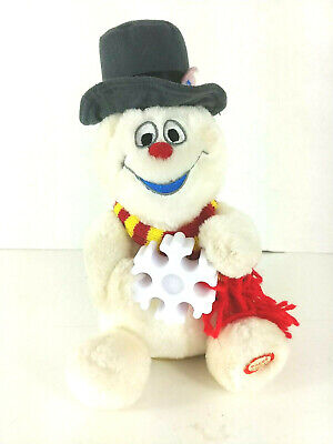 """Rare Vintage GEMMY 8"""" Gray Hat ~ Frosty The Snowman Singing Plush SEE VIDEO!"""