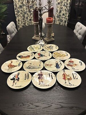 Williams Sonoma Twelve 12 Days Of Christmas Plates 2017 Complete Set New In Box