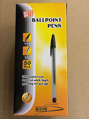 50PCS BLACK BEST BUY SMOOTH PLEASANT WRITING BALL POINT