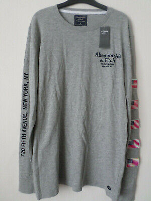 Mens Abercrombie & Fitch Grey Cotton Long Sleeved T-Shirt Top Size: M...