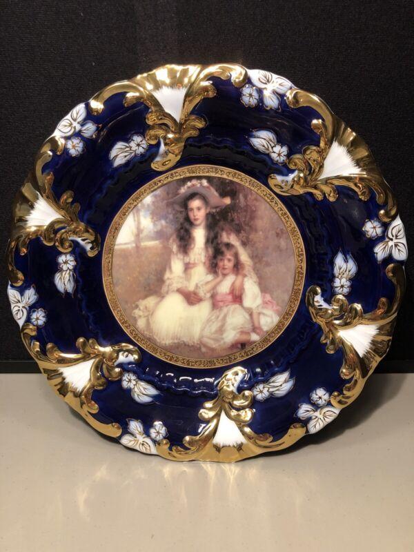 Antique Decorative Royal Vienna Portrait Plate Cobalt Blue & Gold Sisters