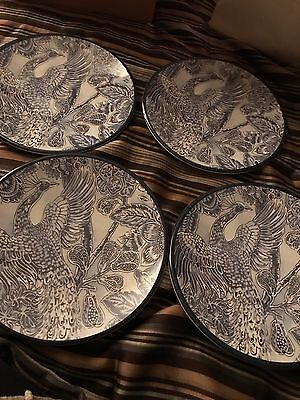 Williams Sonoma Peacock Salad Plates Set Of 4 New