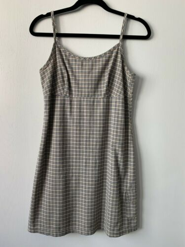 Vintage 90s Aqua Blues Plaid  Beige Strappy School Girl Mini Slip Dress Medium