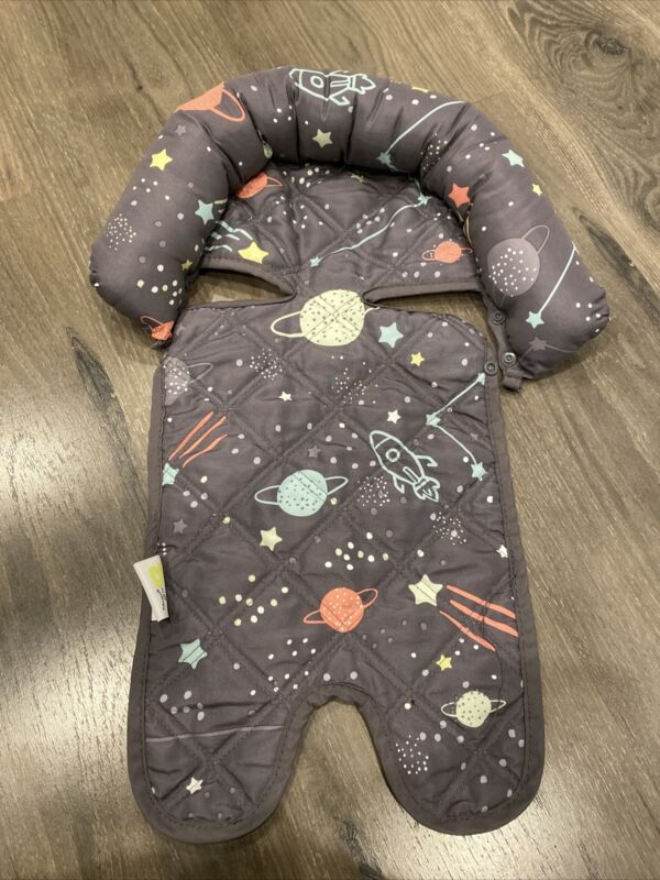 GO by GOLDBUG Infant Car Seat Head Support Rest Grey Space Planets