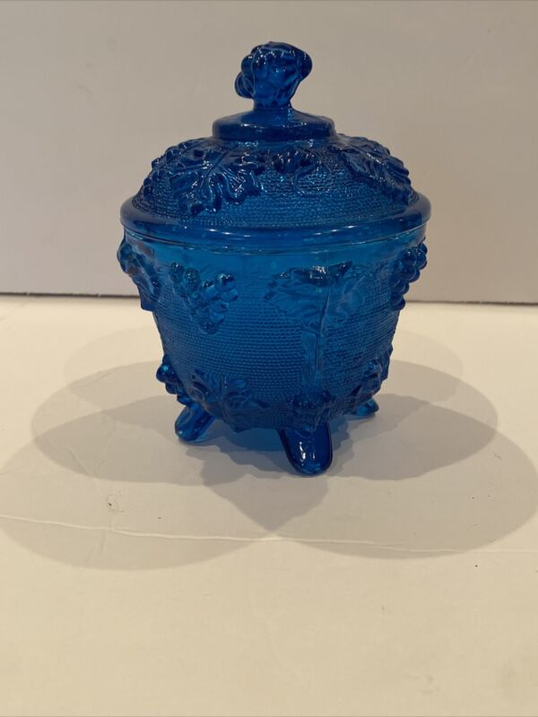 Vintage Blue Glass Candy Dish with Lid