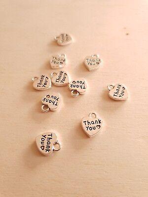 10 x Herz Anhänger THANK YOU ♥ Danke ♥ Schmuckzubehör Basteln Deko Charms Silber