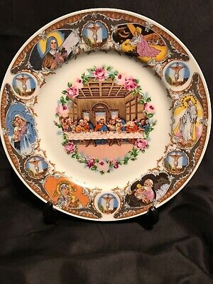 VINTAGE LAST SUPPER PLATE WITH STAND - NEW NEVER DISPLAYED