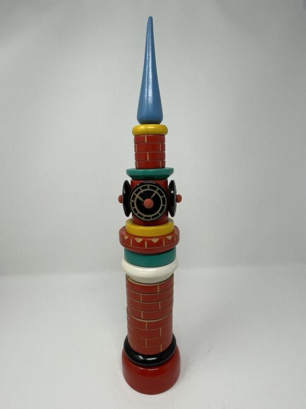 """Colorful Vintage Wood Kremlin Tower Stackable Toy, Folk Art, 16"""", Made In Russia"""