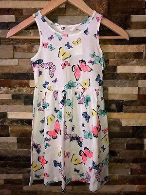 Girls H&M Jersey Cotton Butterfly Dress White Spring Summer ](Girls Butterfly Dress)