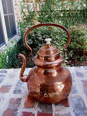 Antique English Copper Tea Kettle Teapot Coffee Pot Copper Handle & Lid