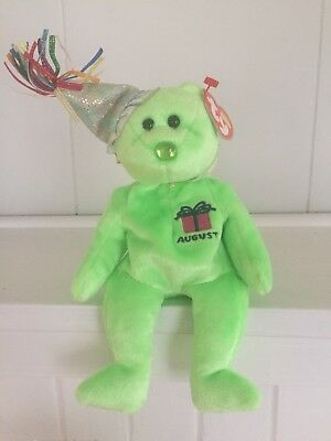 Ty Beanie Baby August w/Party Hat, Birthday Beanie Collection New w/MT Pristine! - Party Ty