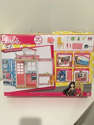 Barbie 2-Story folding House with Furniture & Accessories and doll